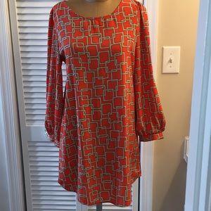 Karlie Coral Orange and Tan Print Shirt Tail Dress